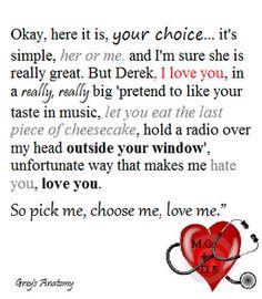 Meredith Grey to Derek,Grey's Anatomy Quote <3