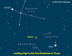 Sky & Telescope sky chart showing the location of the newly discovered nova in the constellation Delphinus discovered in August 2013. Credit: Sky & Telescope MagazineView full size image