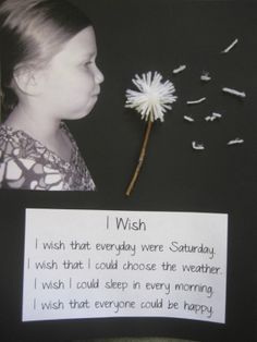 """idea... """"My school bulletin board for the month. We wrote """"I Wish"""" poems then took pictures like we were blowing a dandelion. We cut them"""