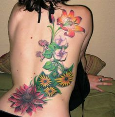 beautiful flowers tattoo on back