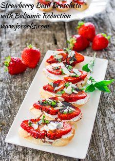 Strawberry Basil Bruschetta with Balsamic Reduction