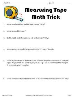 FREEBIE...Measuring Tape Math Trick  Check out blog post for info & pics  http://www.makingitteacher.com/2012/05/math-game-monday-measuring-tape-trick.html