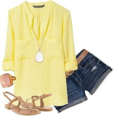 Love the Bright Yellow and Nude Sandals - Great For a Hot Summer Day