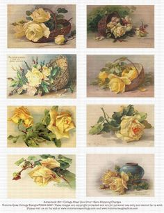 Attic Roses Yellow Vintage Catherine Klein DeLongpre Collage Sheet 36