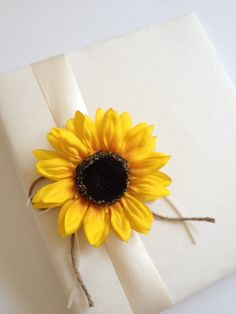Large Rustic Wedding Album - Bright Yellow Sunflower - Ivory Ribbon, Rustic Ivory Ribbon and Rope Bow or Your Color Choice - Handmade