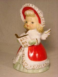 VTG LEFTON CHRISTMAS ANGEL W/SONG BOOK BELL FIGURINE, BONNET & SPAGHETTI TRIM | eBay