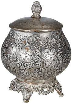 This round, antique silver ceramic box with lid is a wonderful decorative accent for an Eastern-inspired living room, Moroccan bedroom, or classi ...