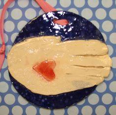 kindergarten clay handprint.
