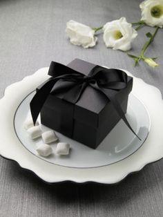 Black Box Favors with Satin Ribbon -  via Brides®