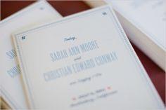 blue wedding programs
