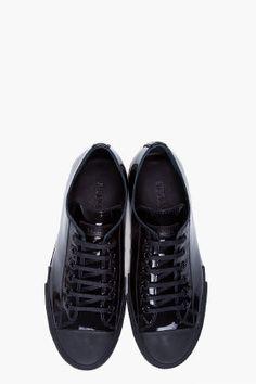JIL SANDER  Black Patent Low Top Sneakers $450