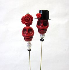 Day of the Dead Cake, Sugar Skull Wedding Lapel Pin Hat Pin Bride  Groom - Rockabilly Red Sweeties!