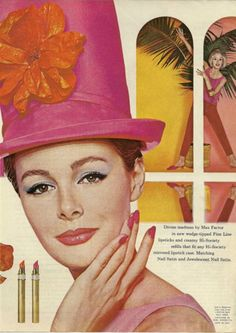 60's Max Factor ad/ Hot pink hat! Mad hatter?