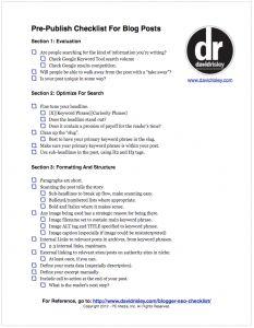 A Checklist for Each Blog Post