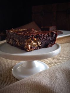 "Paleo ""Reese's"" Swirl Brownies by Clean Eating with a Dirty Mind. #paleo"