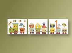 Nursery art, baby nursery decor, nursery wall art, elephant, owl. giraffe. bird, alphabet train, Set of 3, 11x14 Prints -  Anais Fun Train