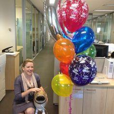 Custom birthday gift - megaloon letter, bright latex balloons set from jellybeans PLUS Ella the Pug walking pet balloon