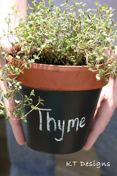 chalkboard herb pot