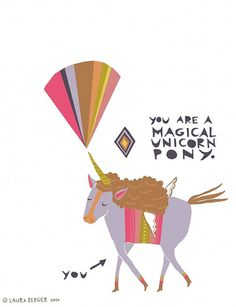 Magical Unicorn Pony  greeting card by laurageorge on Etsy, $4.00