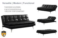 Gabrielle Modern Convertible Futon Sofa Bed Sleeper Black