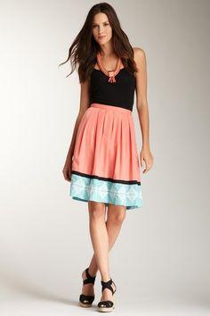 Hazel Pleated & Embroidery Skirt