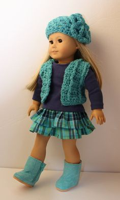 Inspiration~Crochet Vest, Hat, Skirt, T-shirt, and Boots Fits American Girl - 18 inch Doll
