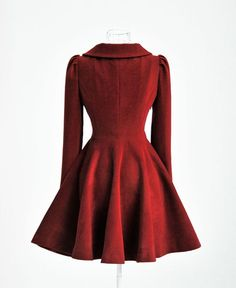Red skirted coat.