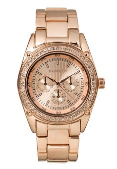 Rose Gold-colored Rhinestone Boyfriend Watch (original price, $20) available at #Maurices