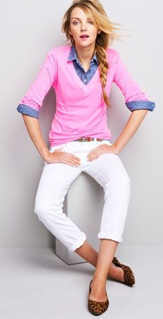 white pants, color pair, buttons, white jeans, spring outfits, chambray, blues, leopard, bright colors
