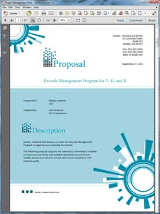 Electronic Records Management Sample Proposal - The Electronic Records Management (ERM) Sample Proposal is an example of a proposal using Proposal Pack to pitch a records management project. Create your own custom proposal using the full version of this completed sample as a guide with any Proposal Pack. Hundreds of visual designs to pick from or brand with your own logo and colors. Available only from ProposalKit.com (come over, see this sample and Like our Facebook page to get a 20% discount)