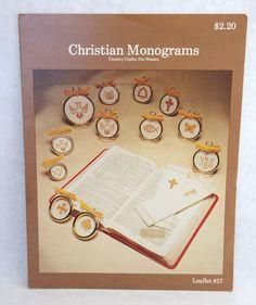 Christian Monograms Cross Stitch Pattern Leaflet Vintage Cross Stitch 1979