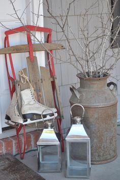 Now I have an idea of how to use that old sled for a decoration at Christmas!!!!! Bungalow Blue Interiors - Home