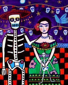 Great idea for a project around Dia de los Muertos, Cinco de Mayo, or even March for Women's History Month. Mexican Folk Art/Frida Kahlo inspired self-portrait with a skeleton. I have 2 in my classroom!