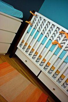 Modern Baby Bedding, Cribset, Crib Bedding in Aqua Orange Gray on Etsy, $30.00