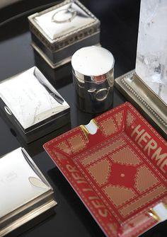 Hermes decor, detail, desk accessories, hermes home, vignett, hermes tray, accent, hermes ashtray, design
