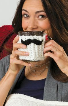 Check out this free crochet pattern for this adorable Mustache Mug Hug!