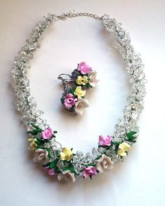 Free shipping  Chunky beaded necklace and earrings by insou, $44.00