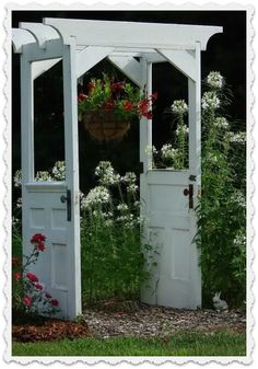 Garden trellis made with two old doors.