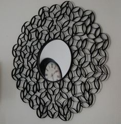 toilet paper rolls wall decor, wall art, mirrors, craft, roll wall, paper art, toilets, papers, diy