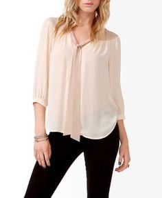 F21 Contrast tie-neck blouse, cream-beige $27.80