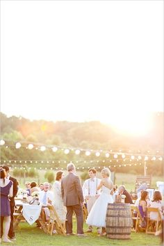 outdoor wedding lighting can even look great during the day time!
