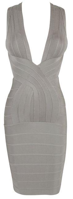 'Vanessa' Grey Deep V Backless Bandage Dress