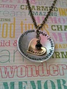Blessed FamilyPersonalized Hand Stamped by DarkChocolateNTulips, $45.00
