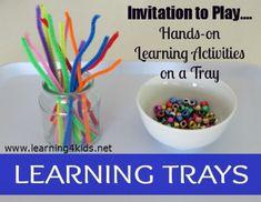 preschool activities, learn tray, 4 kids