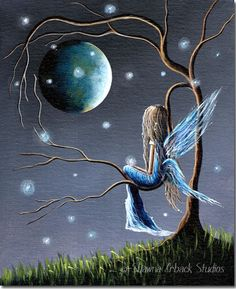 Wishing on the Moon...#fairy #faerie #fantasy #art #blue #moon