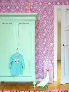 mint green wardrobe - love the colors for a kid room