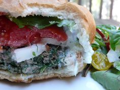 Feta-stuffed Gyro Burgers with Tzatziki Sauce from Sumptuous Spoonfuls