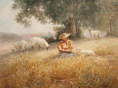 """Print by Bettie Hebert-Felder""""-' Little Lambs'"""