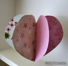 3D paper hearts ornament