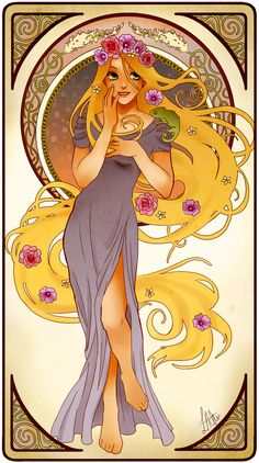 Rapunzel, Tangled | These Mucha-Inspired Disney Princesses Are Stunning